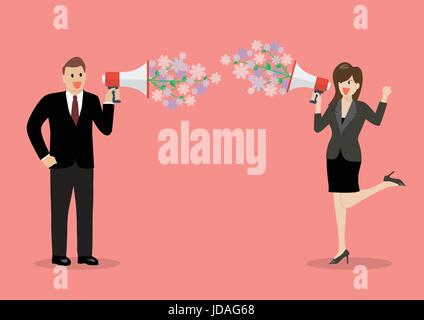 Businessman and woman are holding a megaphone with flowers. flirt concept - Stock Photo
