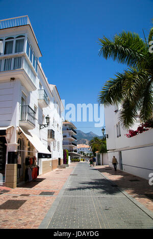 A street scene in Nerja, Andalusia, Spain, Costa del Sol. - Stock Photo