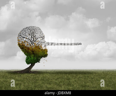 Climate change denier concept as a dying sick tree shaped as a human head with a long nose as a surreal environmental - Stock Photo