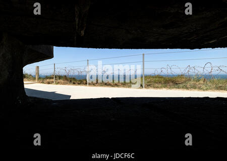 View From the Inside of a German Bunker on the Pointe Du Hoc, Normandy, France - Stock Photo