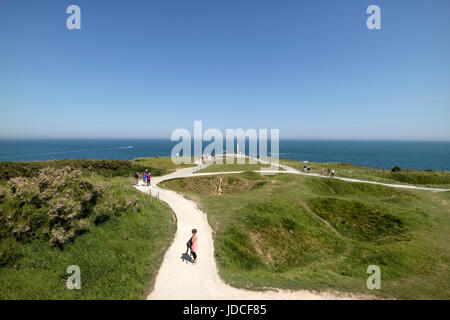 The View Over The Pointe Du Hoc WW2 German Defences Towards the Rangers Memorial, Normandy, France - Stock Photo