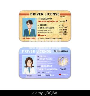 DIfferent car driver licenses with photo on white - Stock Photo