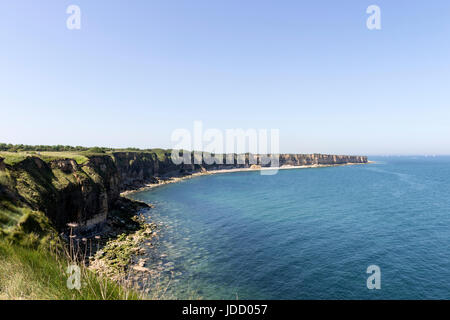 View From The Pointe Du Hoc WW2 German Defences, Normandy, France - Stock Photo