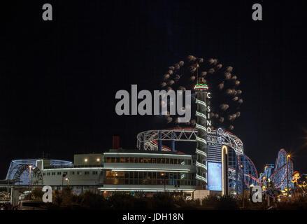 Fireworks in Blackpool in Pleasure Beach - Stock Photo