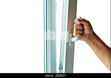 window with mosquito net closeup concept - Stock Photo