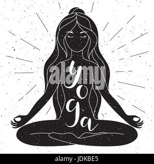 Black and white yoga poster with lettering. Vector. - Stock Photo