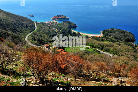 Beautiful seascape of Montenegro: top view of Sveti Stefan island - Stock Photo