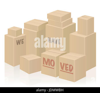 WE HAVE MOVED - moving boxes, packing case. - Stock Photo