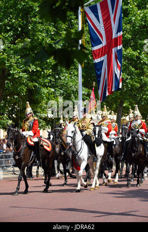 Life Guards Household Cavalry at Trooping the Colour 2017 in The Mall, London. Space for copy - Stock Photo