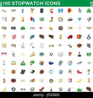 100 stopwatch icons set in cartoon style for any design vector illustration - Stock Photo