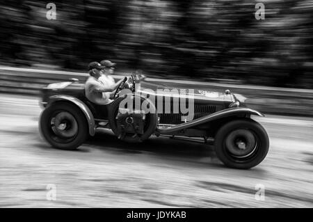 ASTON MARTIN LE MANS 1933 on an old racing car in rally Mille Miglia 2017 the famous italian historical race (1927 - Stock Photo