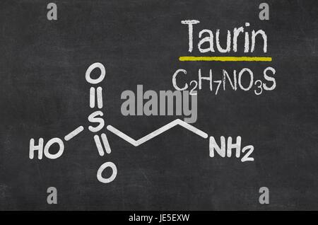 Schiefertafel mit der chemischen Formel von Taurin - Stock Photo