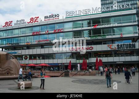 30.05.2017, Berlin, Germany, Europe - View of the Europa Center at the Breitscheidplatz in Berlin Charlottenburg. - Stock Photo