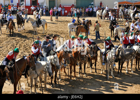 Wild bulls herdsmen, the 'campinos'. Samora Correia, Ribatejo. Portugal - Stock Photo