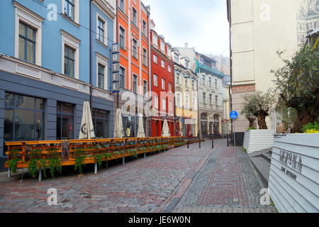 Foggy morning in Riga. Audeju street at historic city centre of Riga, Latvia, Baltic States - Stock Photo