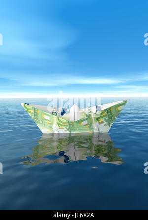 Paper ship from euro of bank note, - Stock Photo