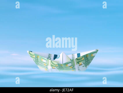 Paper ship from euro of bank notes, - Stock Photo
