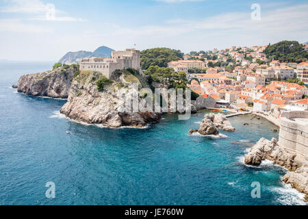 Lovrijenac or St Lawrence Fortress guarding the sheltered cove and northern seaward approach to Dubrovnik old town - Stock Photo