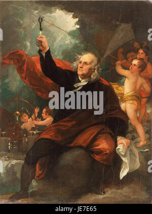 Benjamin West, English (born America) - Benjamin Franklin Drawing Electricity from the Sky - - Stock Photo