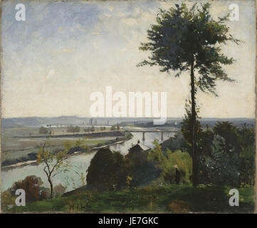 Carl Fredrik Hill - The Tree and the River III (The Seine at Bois-le-Roi) - - Stock Photo