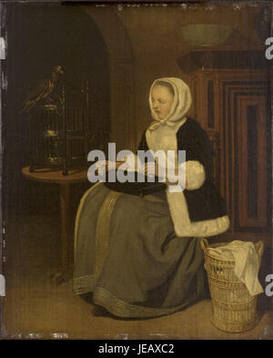 After Gabriel Metsu - Young Lady Sewing Cat507 - Stock Photo