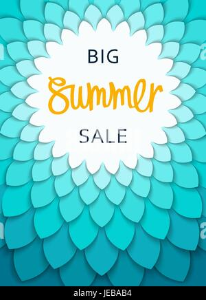 Big Summer Sale. Round frame with stylized leaves pattern. Cut paper structure.  Vector shopping banner and design - Stock Photo