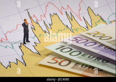 Euro banknotes, character, chart, euronotes, banknotes, money, business, stock, exchange rate, chart, share price, - Stock Photo