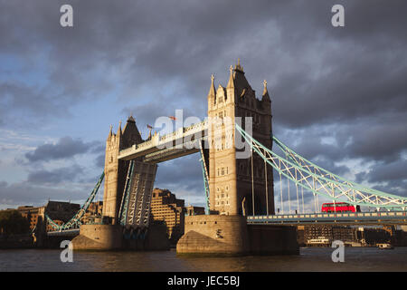 England, London, Tower Bridge, opened, the Thames, evening sun, town, architecture, structure, landmark, monument, - Stock Photo