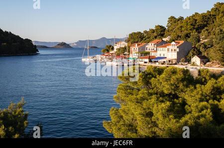 The holiday resort of Pomena on the west coast of the island of Mljet in Croatia - Stock Photo