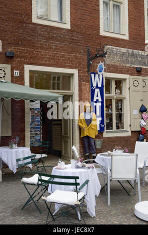 Germany, Brandenburg, Potsdam, Dutch fourth, cafe, outside, postal card rack, town, town fourth, basin square, brick - Stock Photo