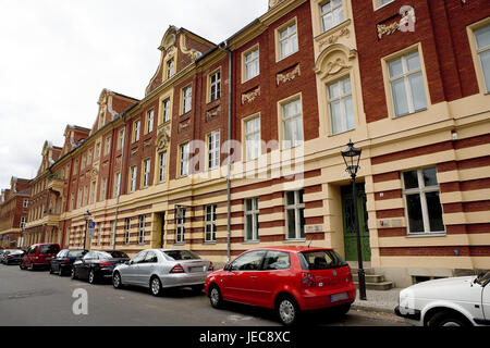 Germany, Brandenburg, Potsdam, Dutch fourth, street, gabled houses, town, town fourth, residential district, brick - Stock Photo