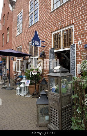 Germany, Brandenburg, Potsdam, Dutch fourth, souvenir business, outside, town, town fourth, sidewalk, paving-stones, - Stock Photo