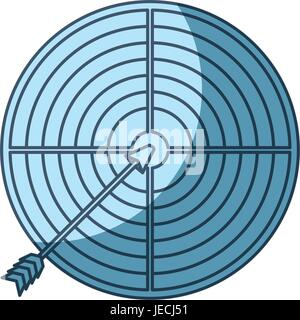 blue shading silhouette of arrow on target - Stock Photo