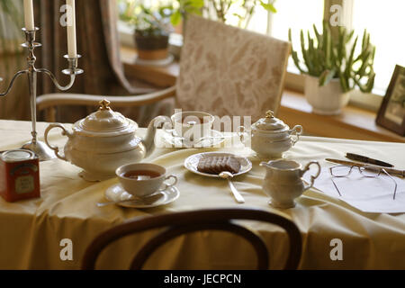 Coffee table, covered, porcelain, elegantly, table, table caps, white, dishes, china, tea service, cups, teapot, - Stock Photo
