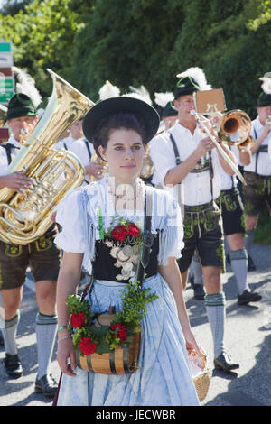 Germany, Bavaria, Burghausen, procession, woman in traditional national costume, band, - Stock Photo