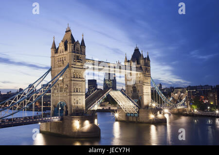 England, London, Tower Bridge, opened, the Thames, dusk, town, architecture, structure, landmark, monument, bridge, - Stock Photo