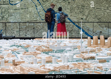 Berlin. Germany. Berliner Statdmodelle, models of Berlin city centre at the Senate Department for Urban Development - Stock Photo