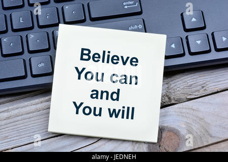 Believe you can and you will on notes closeup - Stock Photo