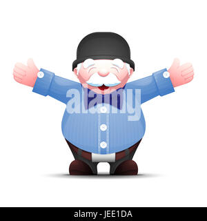 Happy senior man is standing with arms outstretched on white background. Cartoon gentleman in bowler hat and bow - Stock Photo