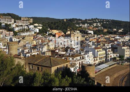 Spain, Catalonia, Costa Brava, Tossa de Mar, view about the town, - Stock Photo