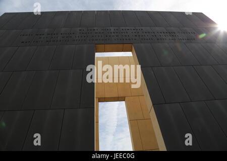 Oklahoma City National Memorial with Sun flare - Stock Photo