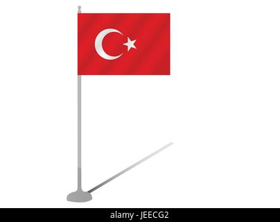 EPS 10 vector illustration of Flag Pole Turkey silhouette on white background - Stock Photo