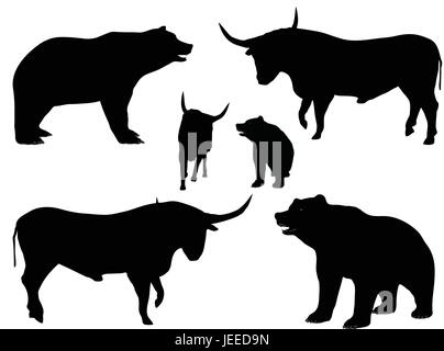 EPS 10 vector illustration of bear and bull silhouette isolated on white background, finance and stock market concept, - Stock Photo