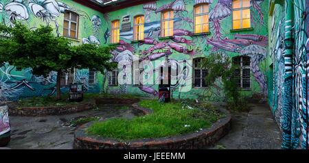 Underwater Graffiti on studio at Metelkova City Autonomous Cultural Center squat former Yugoslav National Army military - Stock Photo