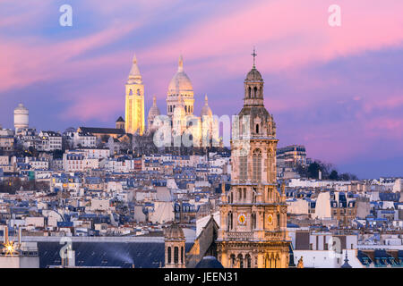 Sacre-Coeur Basilica at sunset in Paris, France - Stock Photo