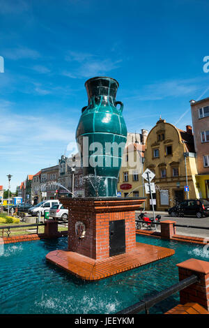 Ceramic vase in Nowogrodziec, Bolesławiec County, Lower Silesian Voivodeship, in south-western Poland - Stock Photo