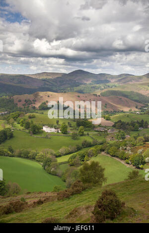 The town of Llangollen, Wales. Picturesque rural view of the Welsh countryside in the county of Denbighshire. - Stock Photo