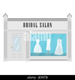 Vector illustration beautiful clothing in bridal salon.  Wedding dresses. Bridal salon building facade icon. - Stock Photo