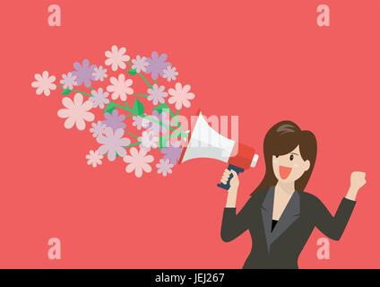 Business woman holding a megaphone with flowers. Vector Illustration - Stock Photo