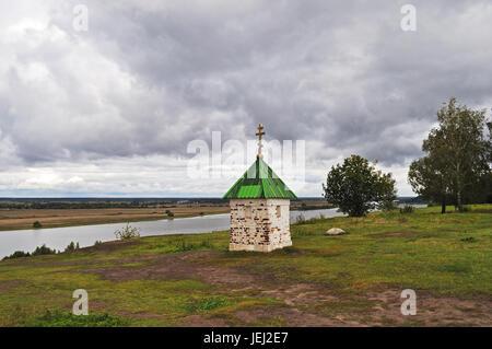 The chapel on theOka banks, Russia - Stock Photo